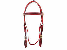 RAWHIDE MAHOGANY WESTERN COWHIDE LEATHER COWBOY RANCH WORKING BRIDLE HEADSTALL
