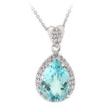 925er Silber 6,3 ct Blauer Topas & CZ Tropfen Halskette, 45.7cm