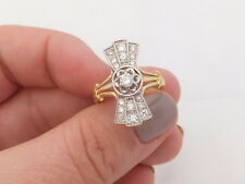 18ct/ 18k gold 63 point Diamond Art deco design ring, 750