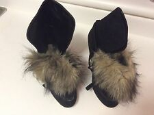 Jlo  Suede Faux Fur Heeled Bootie Size 8 1/2