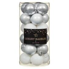 24 X 40MM White Deluxe Luxury Christmas Baubles - XMAS TREE HANGING DECORATION
