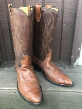 VINTAGE WOMENS UNBRANDED SIZE 10 BROWN GENUINE LEATHER WESTERN COWBOY BOOTS-362