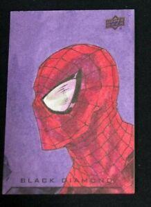 Idan Knafo Sketch Card 2021 Marvel Black Diamond Spiderman 1/1