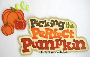 Picking Pumpkin Fall boy girl title paper piecing premade scrapbook page Rhonda