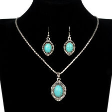 Retro Tibetan Silver Turquoise Pendant Necklace Earrings Set XL283-2