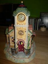 Partylite Turmuhr Teelichthaus mit Blumenwagen Old World VillageP7887 Mehrfarbig