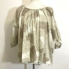 Anthropologie Maeve Womens Couers Heart Batwing Top Sz Large Loose Cotton Blouse