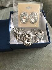 Simulated White Diamond and White Austrian Crystal Bangle and Earrings