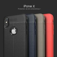 iPhone X (Ten) TPU Leather Armor Hybrid Case Blue