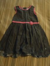 DKNY GIRLS BLACK DENIM CHAMBRAY PINK DRESS 5 EUC RARE