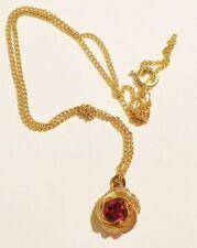 pendentif bijou vintage fleur la rose couleur or cristal rubis couleur or * 3341