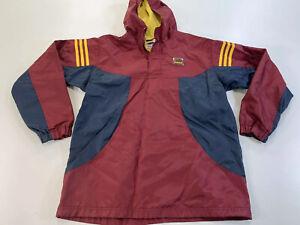 Vintage adidas Maroon Yellow 3 stripe 1/2 Zip Pullover Jacket Boys Youth XL