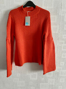 BODEN  orange Leah chunky knit  Jumper   size M fit  12-14  NEW
