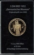 M32)) BRD 5 DM Germanisches Museum 999er Silber 24 Karat vergoldet Gedenkausgabe