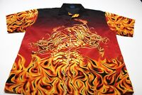 MT 2 Dragon Fire Flames WILD Back Panel Bowling Shirt XL Extra Large