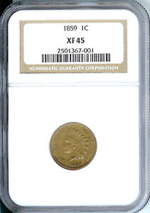 1859 Indian Cent, NGC XF 45, First year type coin