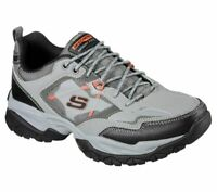 Gray Orange Skechers Shoes Wide Fit Mens Memory Foam Sport Comfort Sneaker 52700