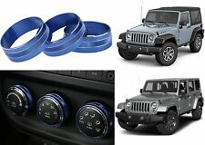 3pc Blue Climate Control Trim Rings For 2011-2017 Jeep Wrangler New Free Ship