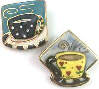 Vintage Brooch Lot Cup of Coffee Brooch, Cup of Tea, Hand Painted Ceramic Pins