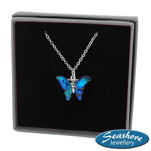 Butterfly Necklace Blue Paua Abalone Shell Pendant Silver Jewellery Gift Boxed