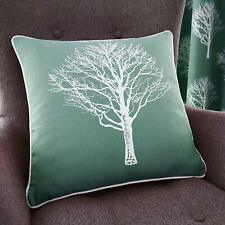 Woodland Trees 100% Cotton Piped Cushion Cover - Duck Egg