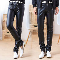 Men's PU Leather Trousers Pencil Pants Motorcycle Slim Fit Stretch Casual Skinny