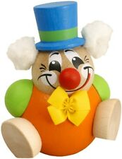 """Handcrafted Erzgebirge wood ball figure Clowny nature - made in Germany 3,14"""""""