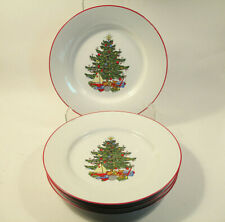 "4 Cuthbertson American Christmas Tree Red Band 8"" Salad Plates"