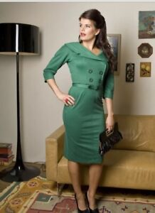 Bettie Page/Tatyana US IMPORT Green 'Secretary' Midi Dress Size L (UK12-14) $144