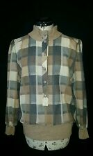 Quality 80s Vintage Cream Brown Grey Check Blouse Top by Hardob 100% Wool Size10