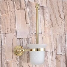 Gold Color Brass Bathroom Accessory Wall Mounted Toilet Brush Holder Set fba312