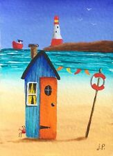 Original Acrylic ACEO Painting by JULIA Seaside Beach Hut, Crab
