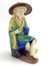 Antique Chinese Mudman Fisherman Figurine Clay Painted 179g 4.5in K221