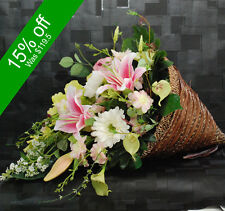 Artificial Flower Arrangement-Cone Basket Design - Gifting/Decoration
