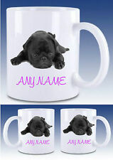 PERSONALISED BLACK PUG PUPPY MUG Drinks Mug Cup,Gift xmas,