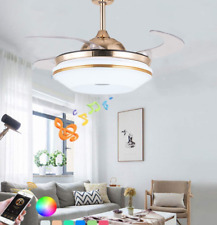 New Listing42' Led 7Color Bluetooth Ceiling Fans Gold Music Chandelier w/ Invisible Blade