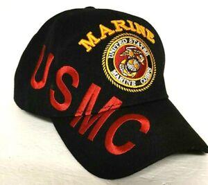USMC HAT United States Marine Corp MILITARY licensed U.S. WARRIORS Black Adjust