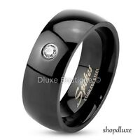 MEN'S ROUND CUT CZ BLACK IP STAINLESS STEEL WEDDING RING BAND SIZE 7-14