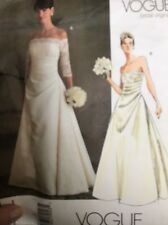 Vogue Pattern 2842 Wedding Dress Strapless Full Length Bridal Gown Size 6-10