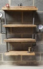 Steampunk industrial design shelf C/W gauges gate valve and bib taps .