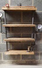 Steampunk industrial design shelf C/W gauges gate valve and bib taps .