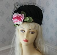 Vintage Mid Century 1950s to 1960s Black Straw Women's Hat with Veiling and Pink