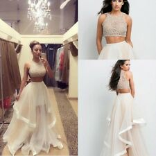 Women Two Pieces Sequins Formal Evening Dress Party Pageant Prom Long Gown S-XL