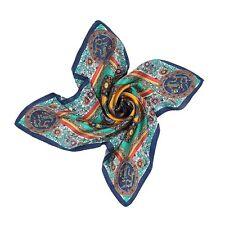 Dragon Print women's 100% Silk Scarf, 90 cm X 90 cm, Navy Blue