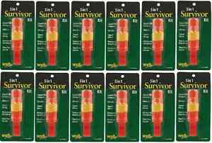 5-in-1 Survivor Hiking Kit Wholesale 12 Pack -Compass, Mirror, Whistle