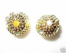 20 6mm Rhinestone Ball Beads Gold / Crystal AB (MB14)