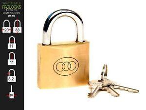 Tri Circle Keyed Alike 20mm Brass Lock Padlock