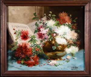 HENRI CAUCHOIS (1850-1911) SIGNED FRENCH IMPRESSIONIST OIL - FLOWERS & MUSIC