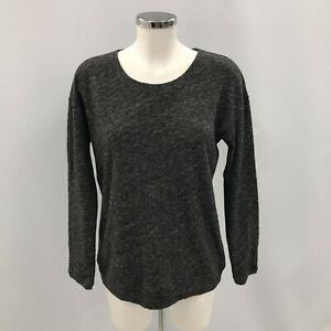 Eileen Fisher Top Women's Size Small Grey Organic Cotton Wool Long Sleeve 124393