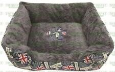 Cat Dog Den Sofa with Two Side Pillow Pink and Jeans  Bed Cozy Puppy Soft Sleep